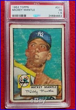 1952 Topps Mickey Mantle Yankees Rookie Baseball Card #311 PSA 1.5 (AYC)