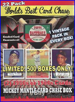 1952 Unopened Mantle Card Chase Box(22)+vintage Pack+graded Card+2 Card 1950/60