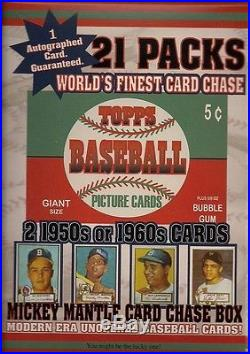 1952 Unopened Topps Mantle Rookie Card Chase Box 21 Pks/2-50/60 card WithAutograph
