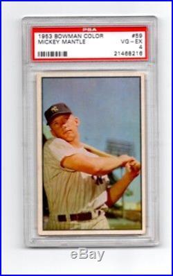 1953 Bowman Color Mickey Mantle PSA 4 VG-EX Sharp! #59 New York Yankees