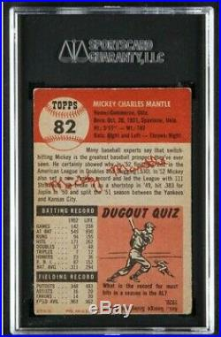 1953 TOPPS #82 MICKEY MANTLE SGC 2.5 Good+ Attractive card, nice coloring