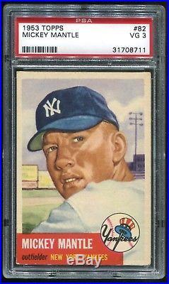 1953 Topps #82 Mickey Mantle New York Yankees HOF PSA 3 (Centered)