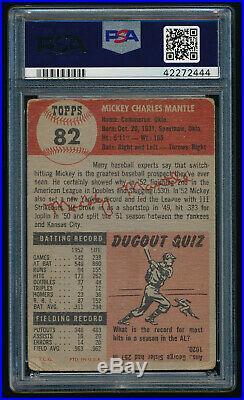 1953 Topps #82 Mickey Mantle PSA 1.5 (FR) HOF New York Yankees Well Centered