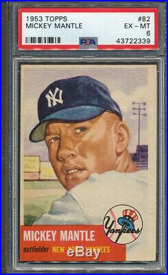 1953 Topps #82 Mickey Mantle PSA EX-MT 6 2339