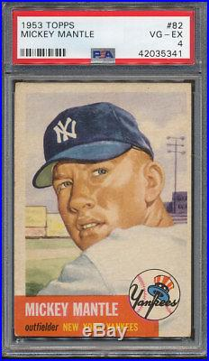 1953 Topps #82 Mickey Mantle PSA VG-EX 4 5341
