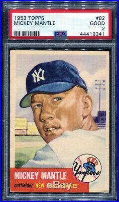 1953 Topps #82 Mickey Mantle Psa 2 (9341) Undergraded