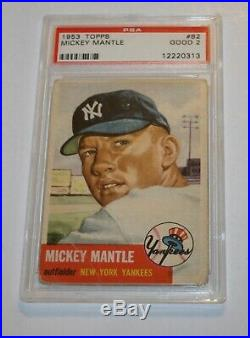 1953 Topps #82 Mickey Mantle Psa 2 Under Graded Awesome Color