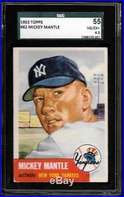 1953 Topps #82 Mickey Mantle SGC 4.5 VG-EX+