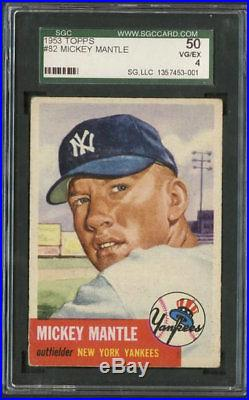 1953 Topps #82 Mickey Mantle SGC 4 Centered