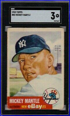 1953 Topps #82 Mickey Mantle Sgc 3 Vg New York Yankees