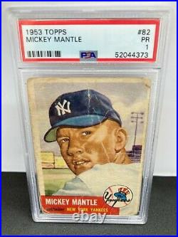 1953 Topps #82 Mickey Mantle Short Print PSA 1