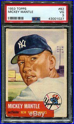 1953 Topps #82 Mickey Mantle Yankees Hof Centered Psa 3 B2690088-027