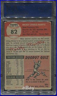 1953 Topps #82 Mickey Mantle psa 2 Good HOF Yankees