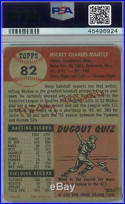 1953 Topps Baseball #82 Mickey Mantle PSA 1 (Poor) 6924