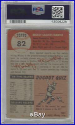 1953 Topps Baseball Card #82 Mickey Mantle Graded PSA 1 Yankees