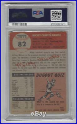 1953 Topps Baseball Card #82 Mickey Mantle PSA 3 graded New York Yankees
