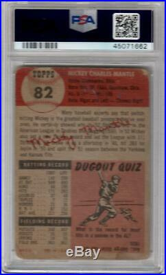 1953 Topps Baseball Mickey Mantle Card # 82 PSA 1 Poor Condition