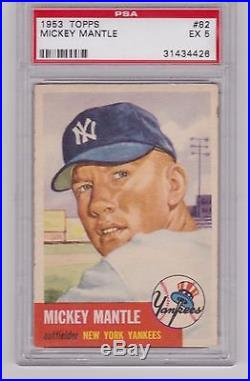 1953 Topps MICKEY MANTLE #82 PSA 5 EX Excellent New York Yankees Card