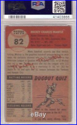 1953 Topps MICKEY MANTLE #82 PSA Graded 4.5 VG-EX+ PSA Laser foil sealed