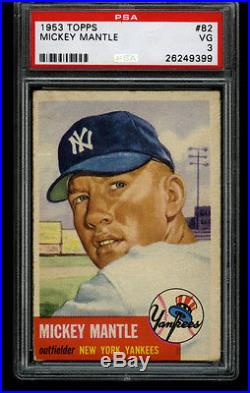 1953 Topps MICKEY MANTLE Yankees HOF #82 PSA 3