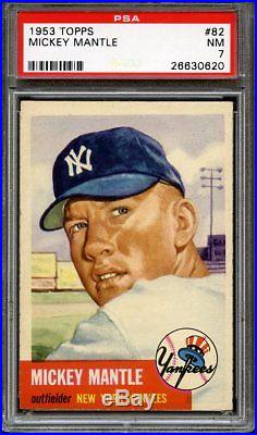 1953 Topps Mickey Mantle #82 Nm Psa 7 Nmmt Corners