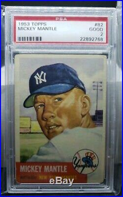 1953 Topps Mickey Mantle #82 PSA 2 + NICE Appeal, Looks Better