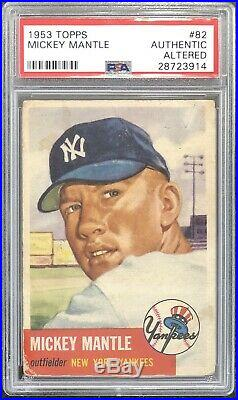 1953 Topps Mickey Mantle #82 PSA Authentic Altered (Stamp, Back)