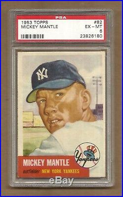1953 Topps Mickey Mantle # 82 Psa 6