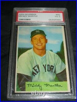1954 Bowman #65 Mickey Mantle PSA VG 3