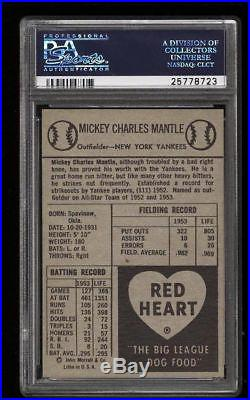 1954 Red Heart Mickey Mantle HOF PSA 3 Centered & Undergraded