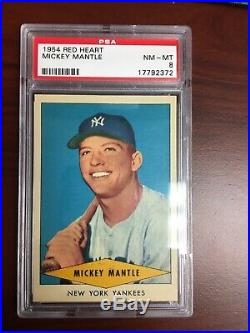 1954 Red Heart Mickey Mantle PSA 8 Beautiful Card