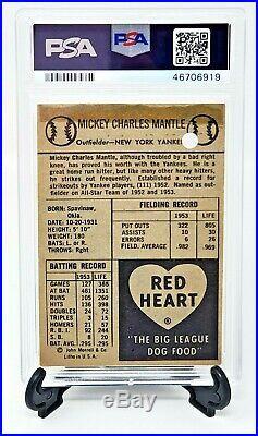 1954 Red Heart Yankees MICKEY MANTLE Baseball Card PSA Grade 1 Great Centering