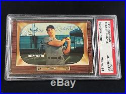 1955 Bowman #202 Mickey Mantle Yankees Autographed Card Vintage Signed Psa/dna
