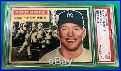 1956 TOPPS MICKEY MANTLE # 135 PSA 5 grey back