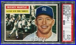1956 Topps 135 Mickey Mantle Hof Gray Back Psa 9 90006971