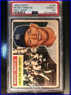 1956 Topps #135 Mickey Mantle PSA 2.5 Good+ Gray Back Yankees Hall of Fame HOF