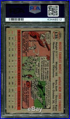 1956 Topps #135 Mickey Mantle Yankees Hof Gray Back Centered Psa 6 B2701818-512