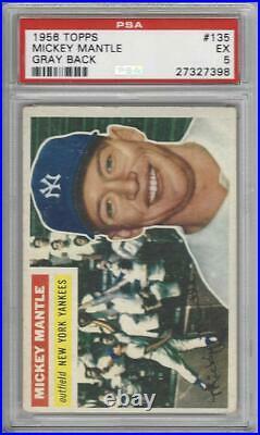 1956 Topps Baseball Card #135 Mickey Mantle Graded PSA 5 New York Yankees