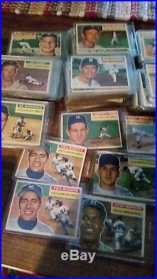 1956 Topps Complete baseball set, PSA 4 Mantle, dups, app 600 cards
