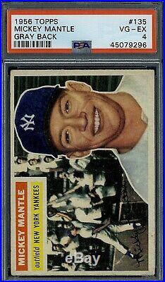 1956 Topps Mickey Mantle #135 PSA 4 Gray Back well centered
