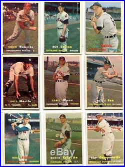1957 TOPPS COMPLETE SET 407 WithMANTLE, MAYS, AARON, CLEMENTE VERY GOOD-EXCELLENT+
