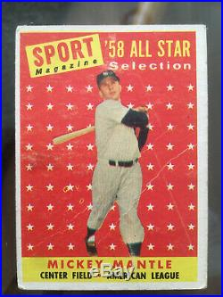 1958 TOPPS BASEBALL near COMPLETE SET w MANTLE MARIS 491 of 494 Strong cond