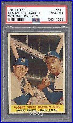 1958 Topps #418 Mickey Mantle / Hank Aaron PSA 8