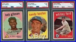 1959 Topps HOF Lot Mantle, Mays, Aaron, Clemente, Maris, Gibson & All PSA 7 or 8