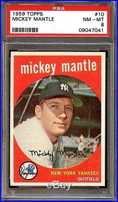 1959 Topps MICKEY MANTLE #10 Baseball Card PSA 8 NICE