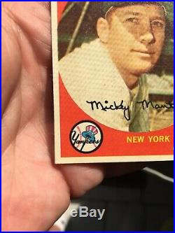 1959 Topps Mickey Mantle #10 Great Centering. Vg+ Altered WithSharp Front Display