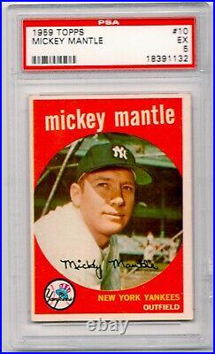 1959 Topps Mickey Mantle #10 PSA 5 VERY Sharp for Grade! Yankees