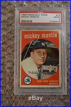 1959 Topps Venezuela/Venezuelan Mickey Mantle #10 PSA GRADED EXTREMELY RARE