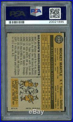 1960 Topps #350 Mickey Mantle HOF PSA 5 Centered