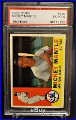 1960 Topps #350 Mickey Mantle HOF Yankees PSA 6 EX-MT 08119232 (SCA)